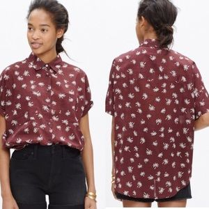 Madewell Palm Tree Courier Maroon Boxy Top